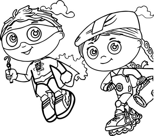 super why and wonder red coloring sheet