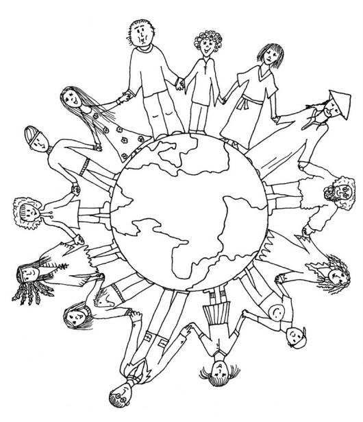 diversity children coloring pages | High-detailed Maps of the World Coloring Pages for ...
