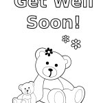 Bear themed Get Well Soon Coloring Sheet for Kids