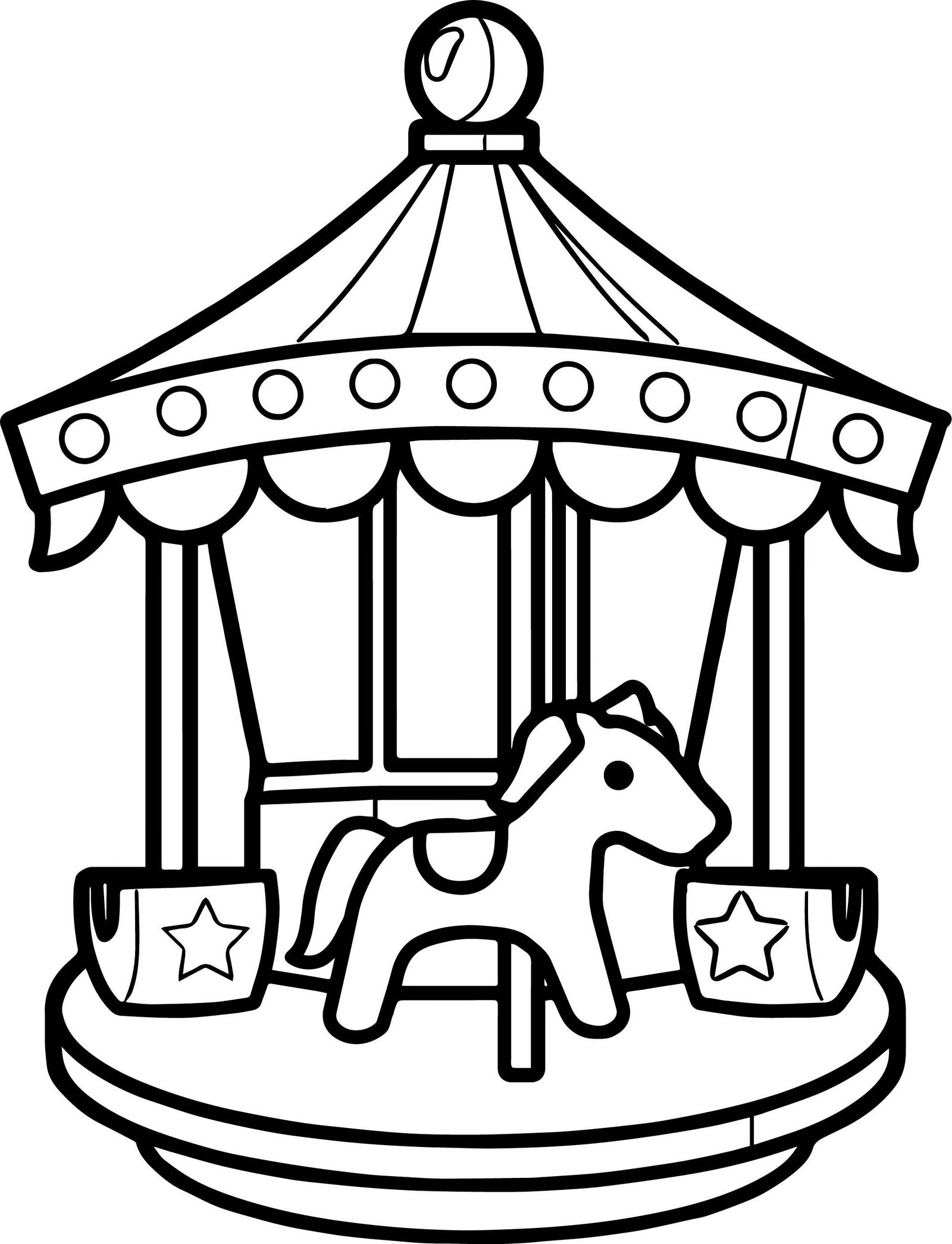 Cute Lighted Carousel Coloring Page