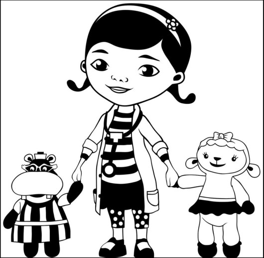Dottie Lambie and Hallie from doc mcstuffins coloring pages