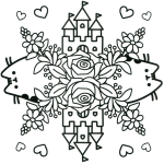 Floral Pusheen Castle Coloring Page