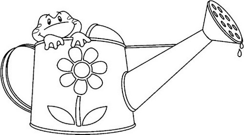 Gardening Tools watering coloring sheet for kids