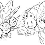Perfect Bee and Bug Wordworld Coloring Sheet