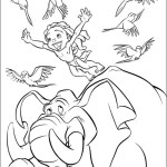 Tarzan II and Elephant coloring sheet