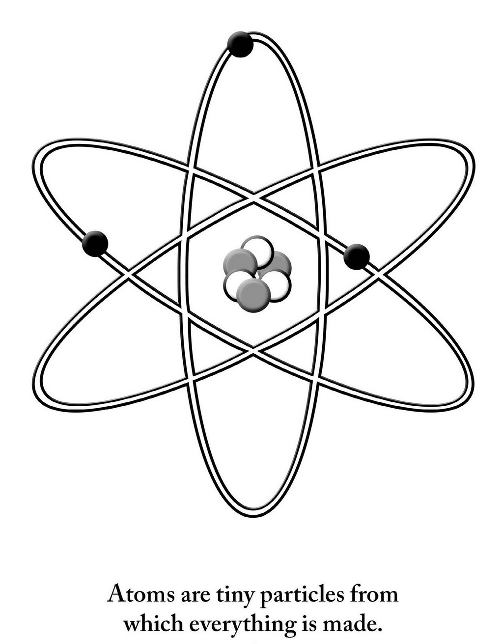 Atom Chemistry Coloring Sheet Lineart Drawing