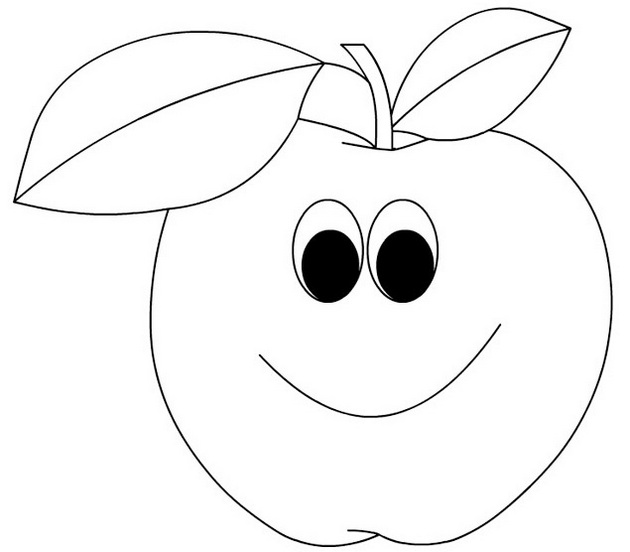best cartoon apple with face coloring food with face