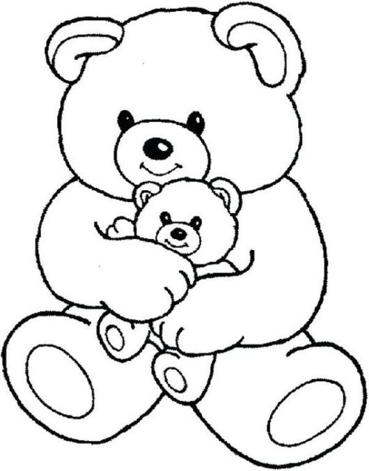 charming teddy bear with little teddy bear on his lap coloring pages