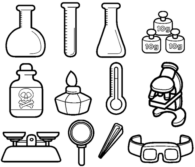 chemistry instruments coloring picture