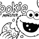 cookie monster eating cookies coloring page
