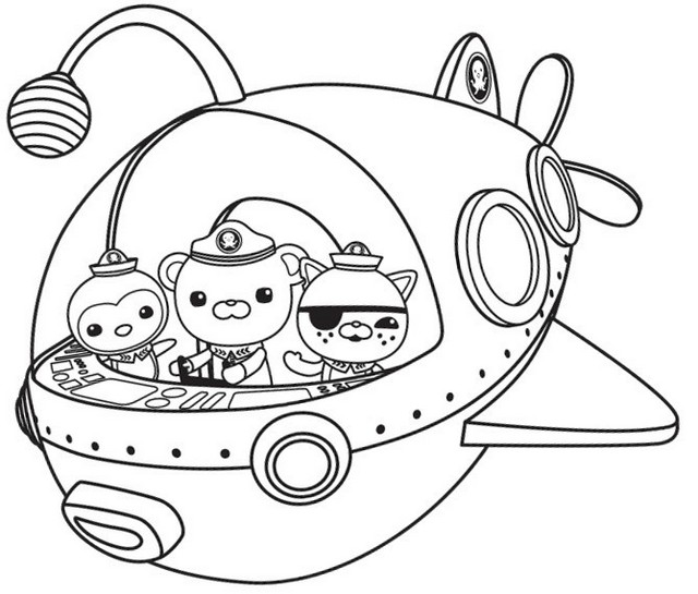 Cartoon Submarine Coloring Page For Toddlers