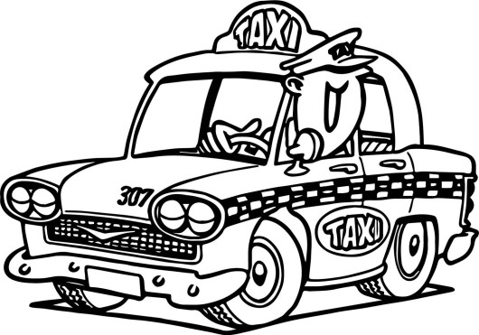 epic taxi car cartoon coloring page for children