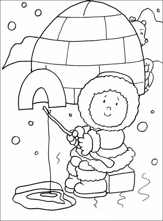 Cute Eskimo Girl Coloring Page Cute Eskimo Girl Coloring