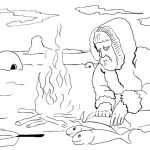 eskimo grilling fish coloring page for kids