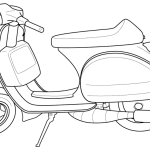 fantastic vespa coloring sheet for children