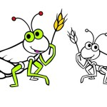 grasshopper with the example result of coloring insect coloring sheet