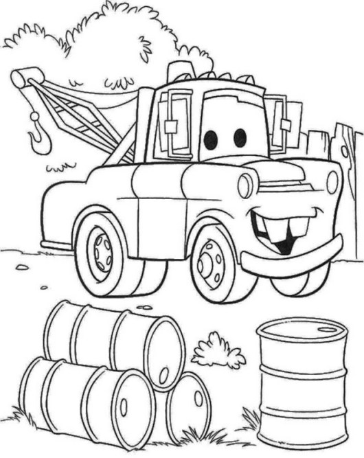 mater car tow truck disney pixar coloring picture for small children