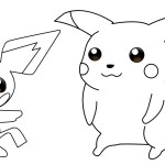 pichu and pokemon coloring sheet for kids