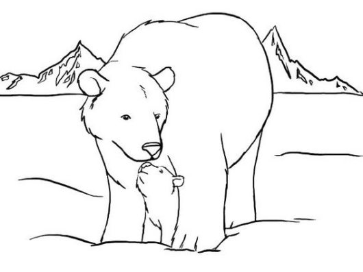 polar bear and his little baby coloring pages