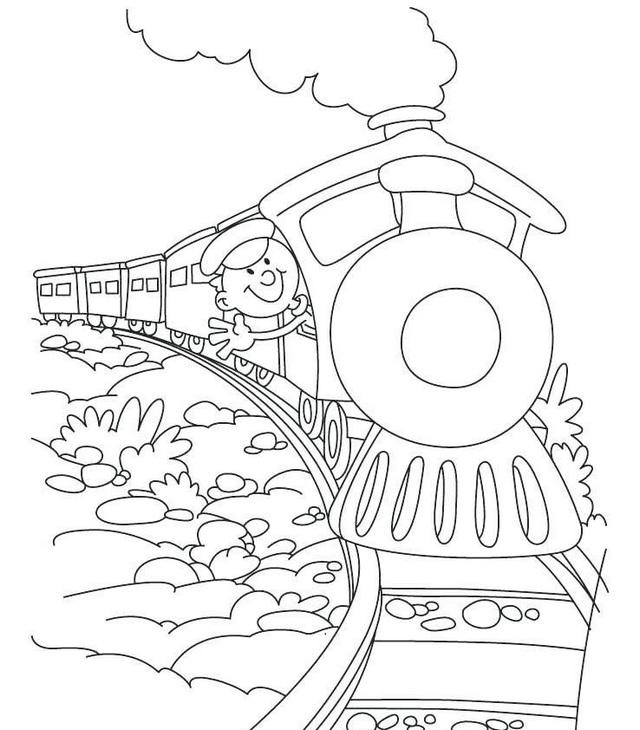 steam train cartoon coloring sheet for preschool children