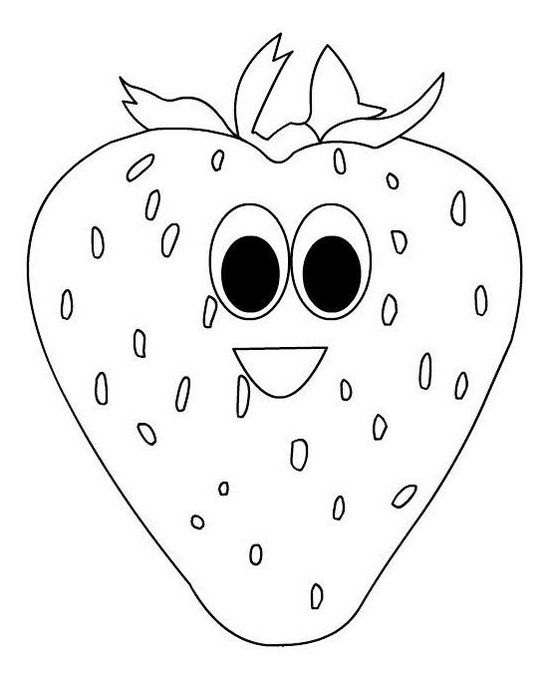 strawberry with face coloring food with face coloring book