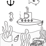 submarine undersea scenery coloring sheet