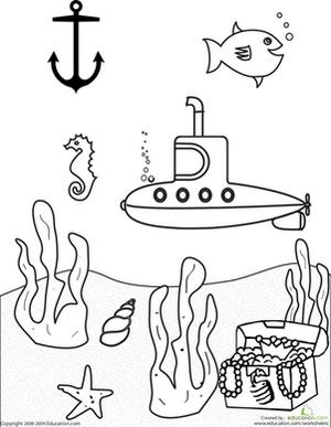 submarine undersea scenery coloring sheet