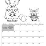 April Calendar Easter theme Coloring Page