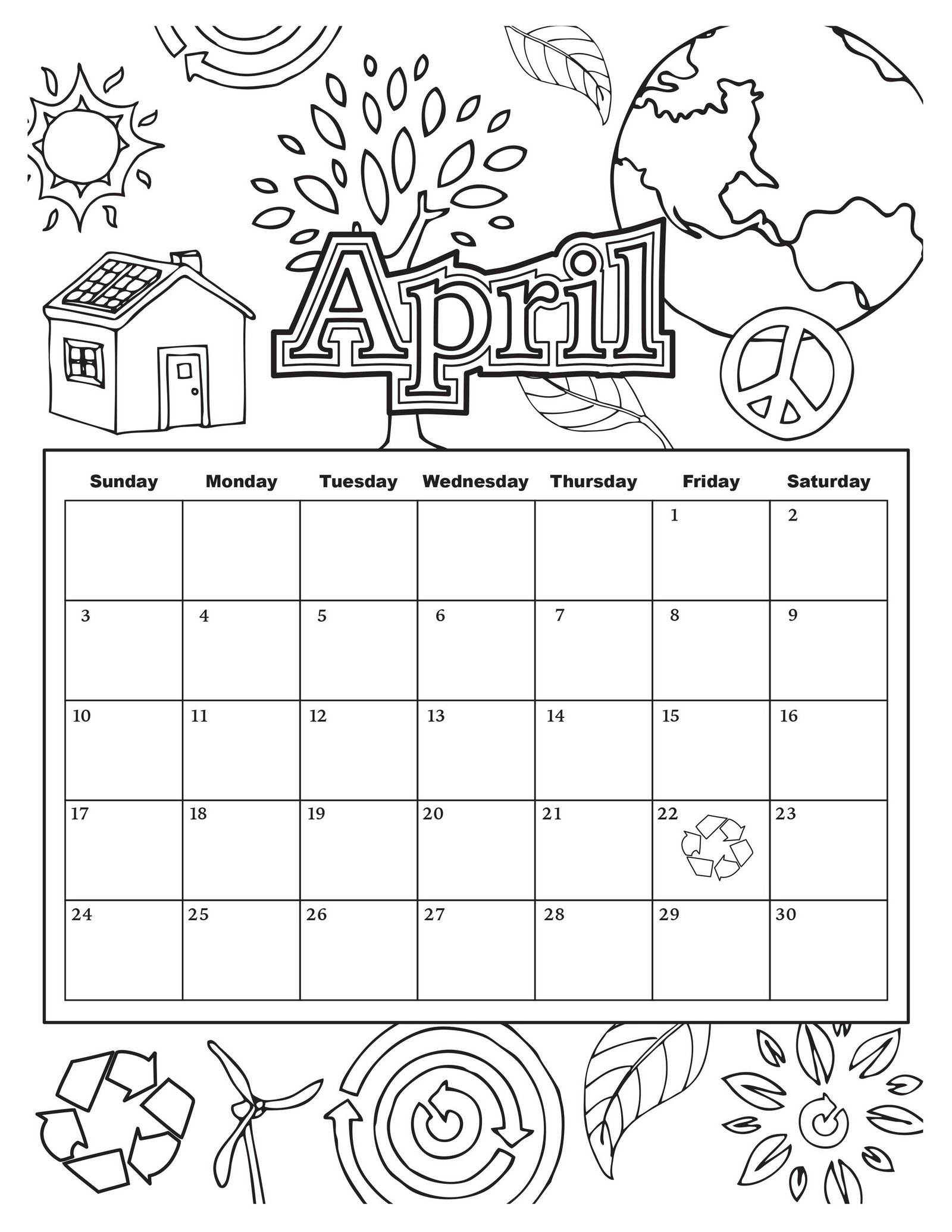 April Environmental Awareness Month Coloring Page