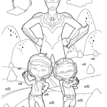 Cute Upin and Ipin Ultraman Coloring Page