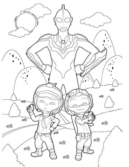 Cute Upin and Ipin Ultraman Coloring Page