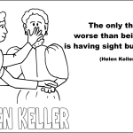 Helen Keller and quotes coloring page