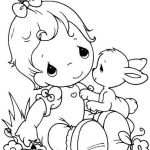PRECIOUS MOMENTS Boy And Rabbit Coloring Sheet
