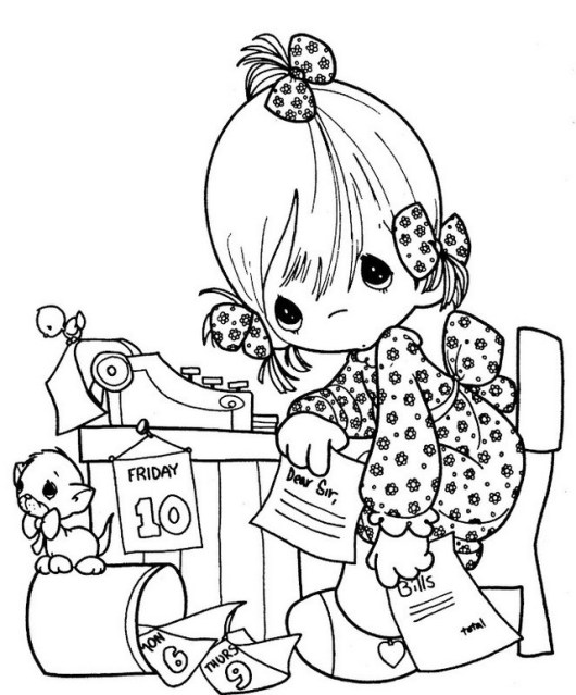 PRECIOUS MOMENTS Girl On Coloring Page