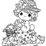PRECIOUS MOMENTS Picnic Coloring Page