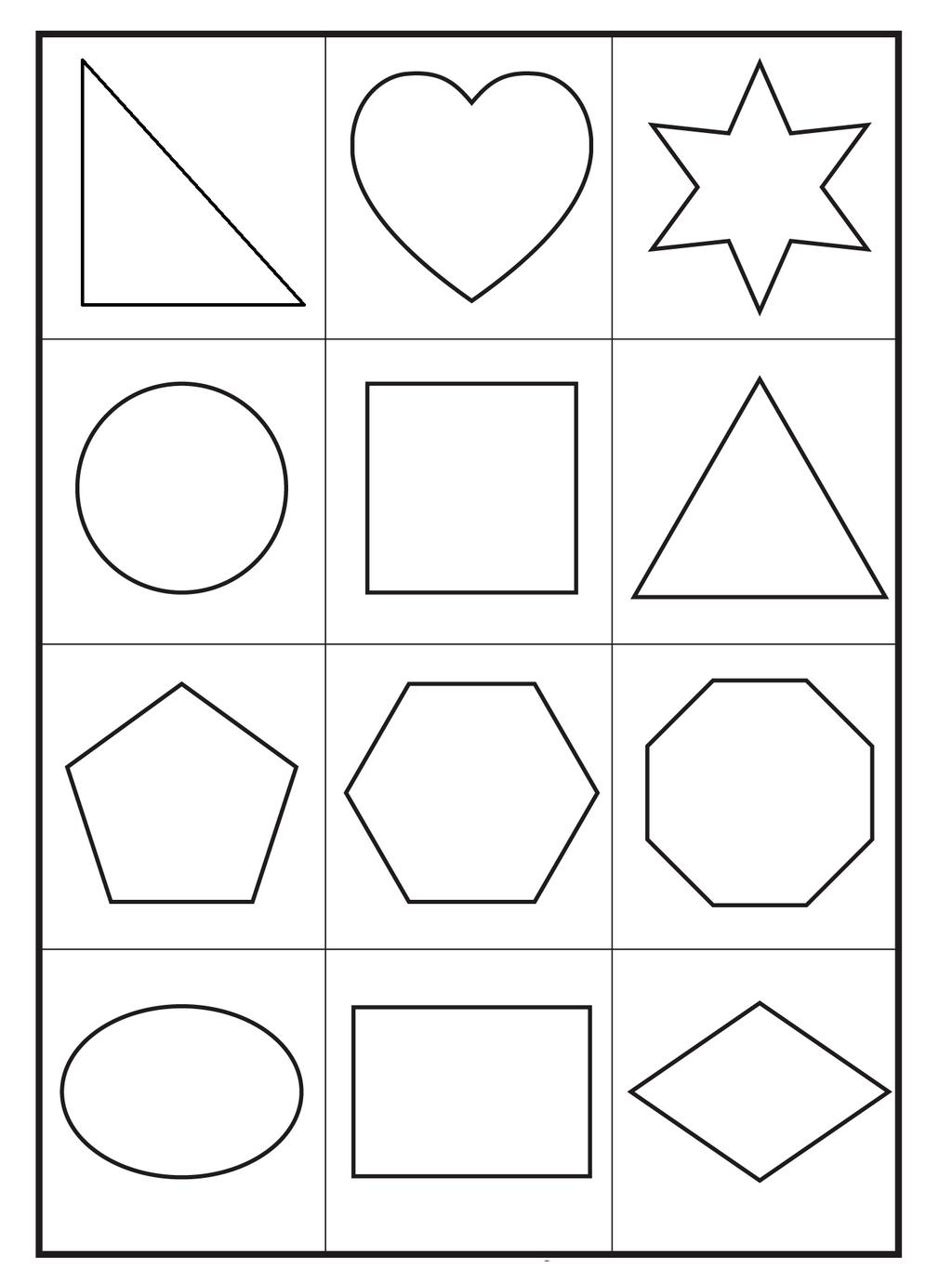 Basic Printable Shapes Coloring Sheet