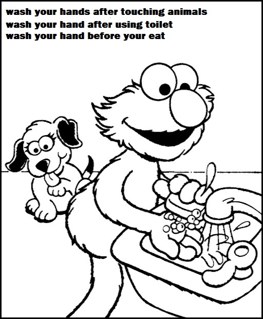 elmo sesame street hand washing coloring pages for children