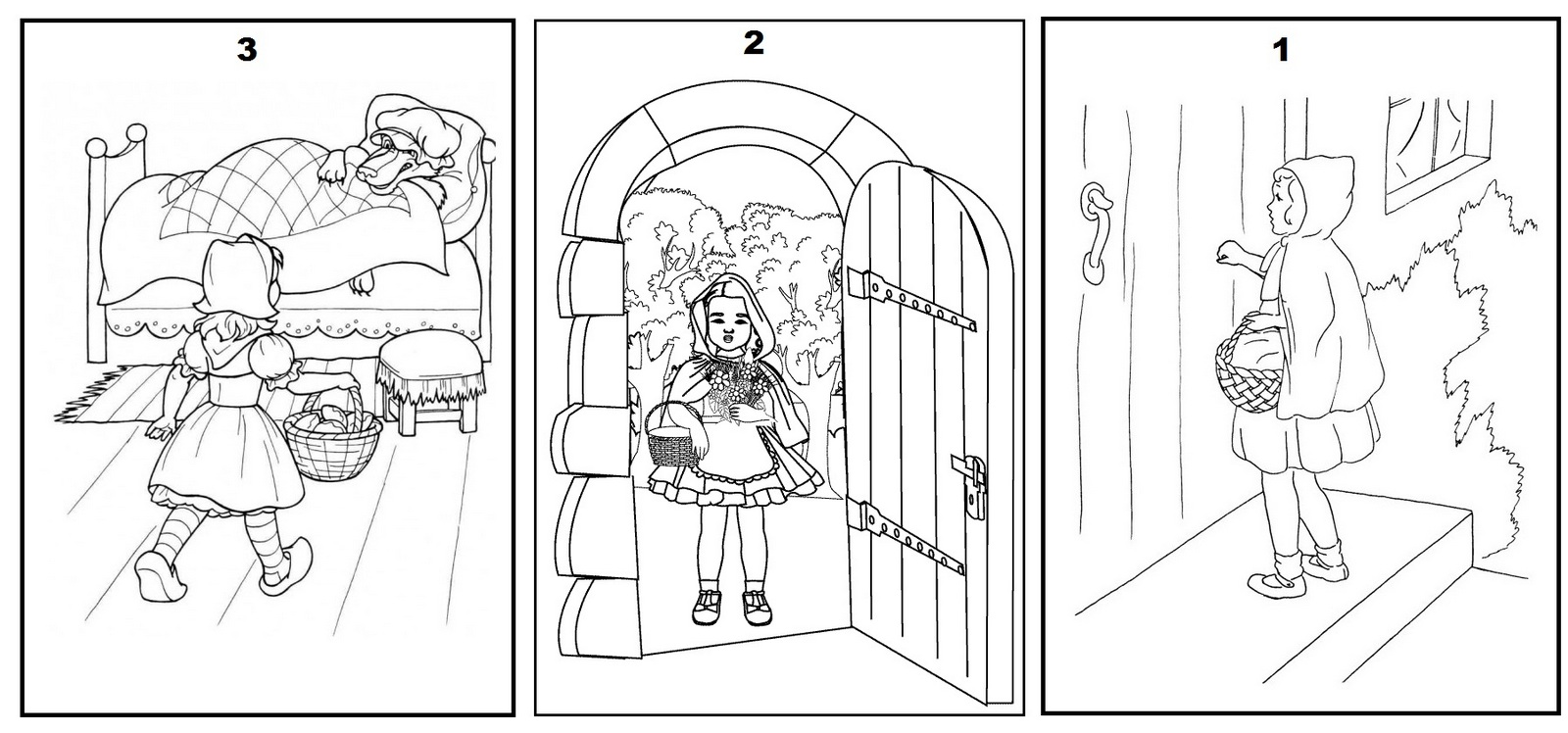 little red riding hood story coloring pages