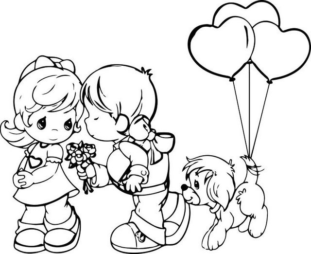 precious moments romance and love Valentine Day coloring pages