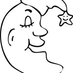 smiling crescent moon with santa hat coloring page for kids