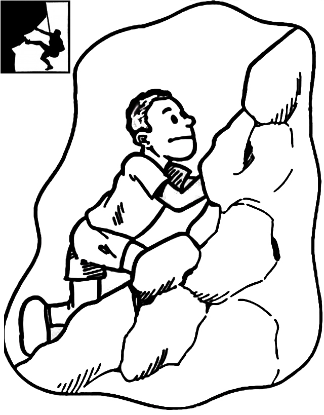 Top Rock Climbing Coloring Page
