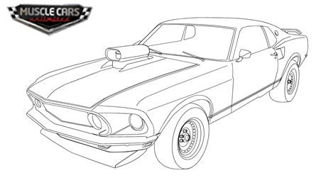 Chevelle Muscle Car Line Art Sketch Coloring Page