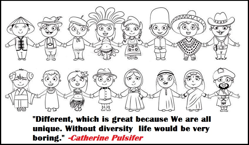 multicultural diversity and quote coloring pages