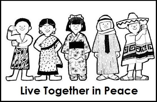 multicultural diversity together in peace coloring page