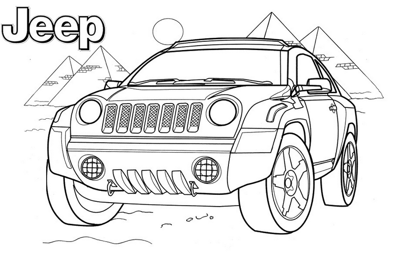 Toyota Jeep Offroading in Egypt coloring page