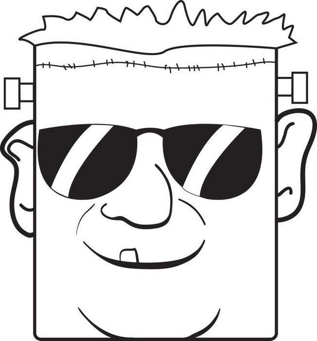 a boy wearing sunglasses coloring page