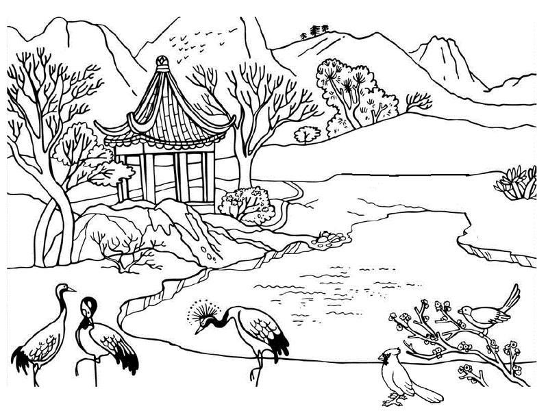 beautiful river mountain nature scene with peacocks