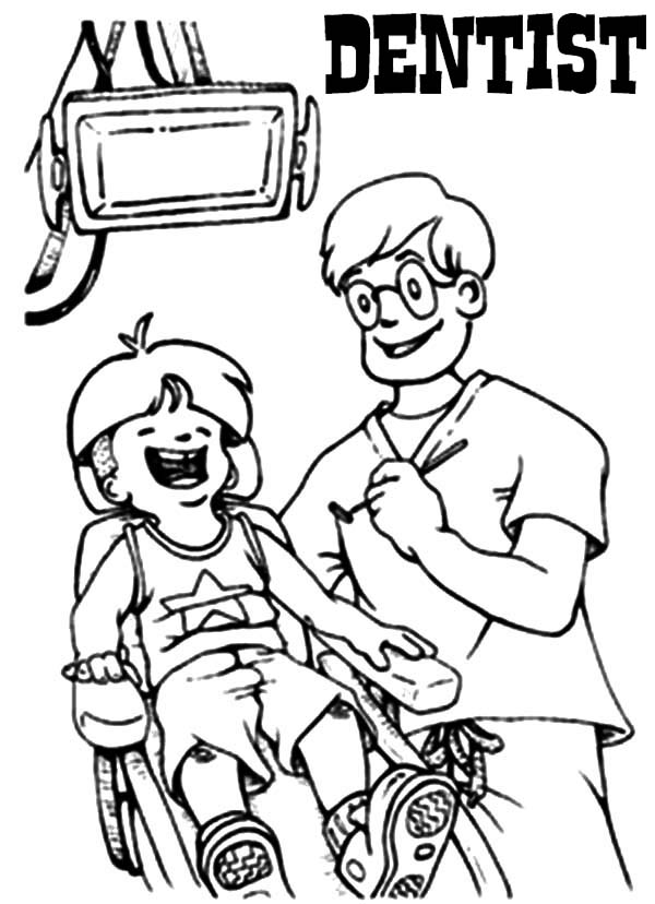 dentist treating kid patient in clinic coloring pages