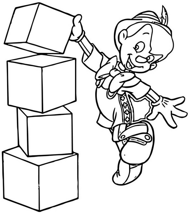 pinocchio playing blocks coloring pages
