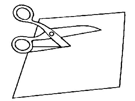 scissors cutting paper illustration coloring page for kids